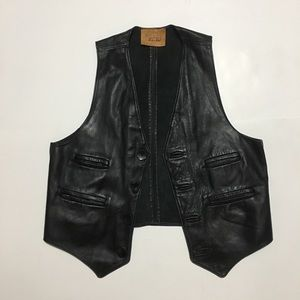 MENS 60s 70s WALTER DYER LEATHER VEST Size small